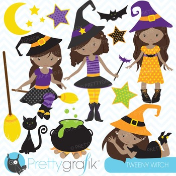 Tween witches clipart commercial use, vector graphics, digital - CL706