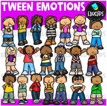 Tweens Emotions Clipart Bundle {Educlips Clipart}