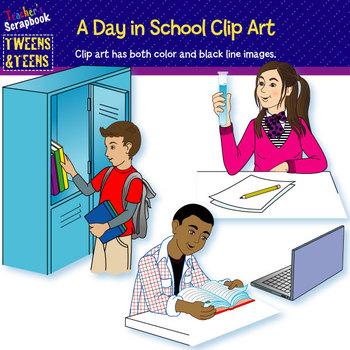 Tweens & Teens:  A Day in School Clip Art