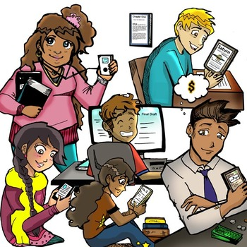 Tweens and Technology Clip-Art (12 pc.: 6 BW and 6 Color)!