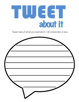 Tweet About Your Learning (Twitter Social Media) - Exit Ticket