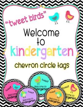 """Tweet Birds """"Welcome to kindergarten!"""" Chevron Tags"""