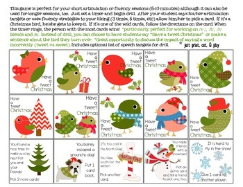Tweet Christmas Quick Drill {for articulation or fluency therapy & RTi}