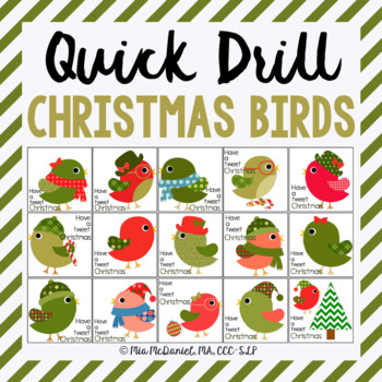 Tweet Christmas Quick Drill {for articulation or fluency t