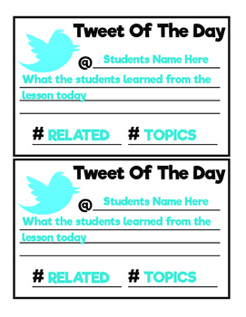 Tweet Of The Day Exit Cards