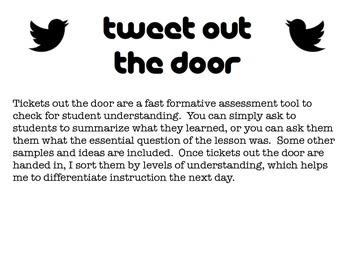 Tweet Out the Door Exit Tickets
