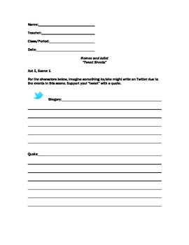 Tweet Sheets Romeo and Juliet