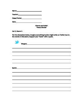Tweet Sheets Romeo and Juliet