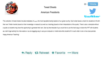FREE! Twitter Templates of American Presidents
