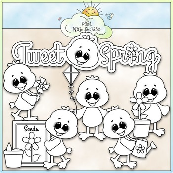 Tweet Spring Clip Art - Spring Birds Clip Art - CU Clip Art & B&W
