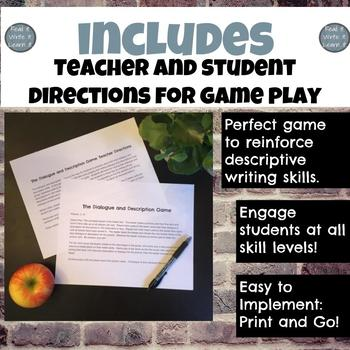 Tweet a Pic: Dialogue and Description Writing Game for Grades 6-10