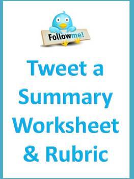Tweet a Summary - Twitter Summarization Worksheet & Rubric