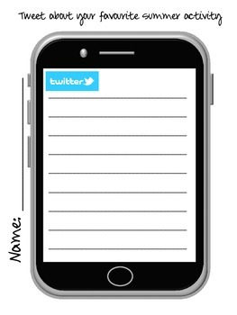 Tweet and Selfie Template - Writing and drawing prompt