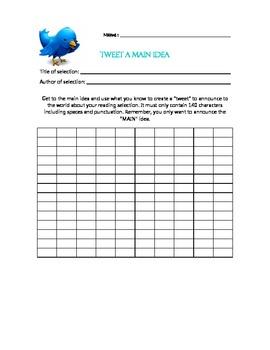 Tweet or Twitter a main idea