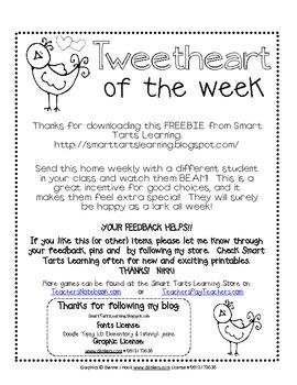 """""""Tweetheart"""" of the Week {Like Star of the Week} FREEBIE"""