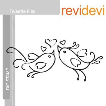 Tweetie pies (digital stamp, coloring image) S001, love birds
