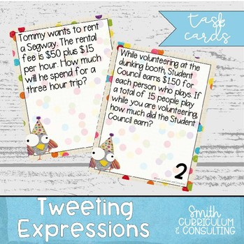 Tweeting Expressions Task Cards with Word Problems