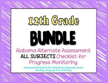 Twelfth Grade  AAA ALL SUBJECTS BUNDLE Checklist Progress Monitoring