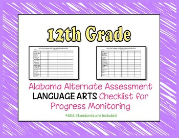 Twelfth Grade AAA Language Arts Checklist Progress Monitoring