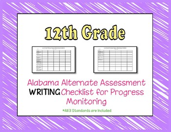 Twelfth Grade AAA Writing Checklist Progress Monitoring