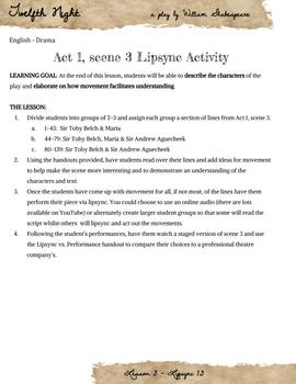 Twelfth Night - Act 1, scene 3 lipsync activity