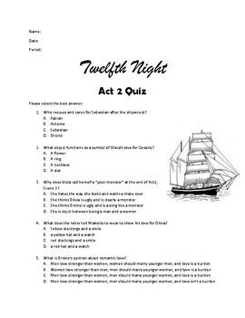 Twelfth Night Act 2 Quiz