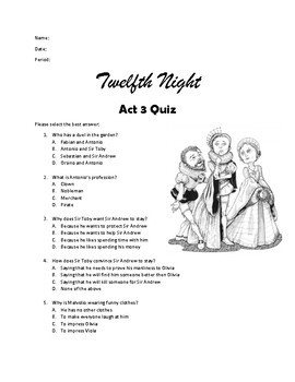 Twelfth Night Act 3 Quiz