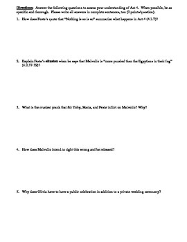 Twelfth Night Act 4 Multiple Choice and Short Answer Quiz