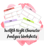 Twelfth Night Character Analysis Worksheets