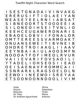 Twelfth Night Character Word Search