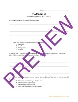 Twelfth Night Close Reading Passages & Questions Bundle of 5 Assessments