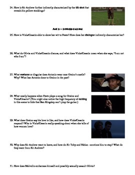 Twelfth Night Film (1996) Study Guide Movie Packet