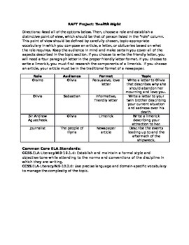 Twelfth Night RAFT with applicable ELA Common Core Standards