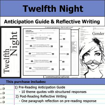 Twelfth Night by William Shakespeare - Anticipation Guide & Reflection