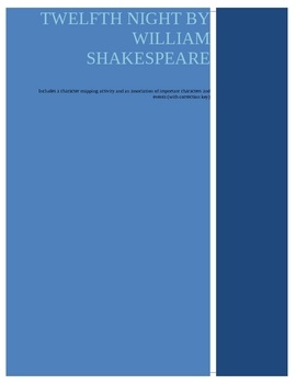 Twelfth Night by William Shakespeare-Character Map and Review