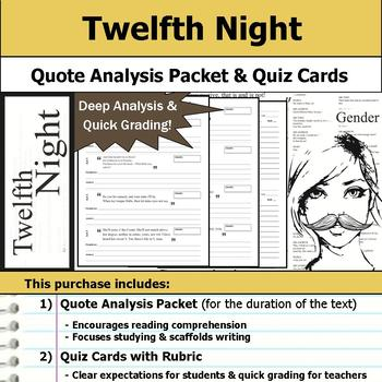Twelfth Night by William Shakespeare - Quote Analysis & Reading Quizzes