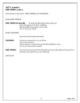 Twelfth Night - elementary or middle school script