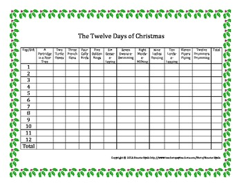 FREE Twelve 12 Days of Christmas Gift Total Math Grid
