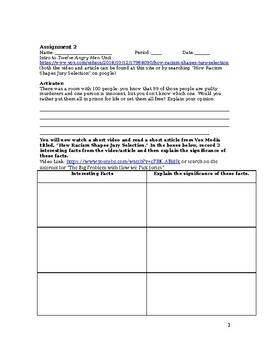 Twelve Angry Men Pre-Reading Lessons and Pre-Reading Creative Assessment Bundle
