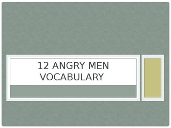 Twelve Angry Men Vocab PowerPoint