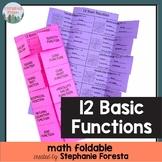 Twelve Basic Functions Math Foldable