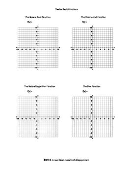 Twelve Basic Functions Graphs Activity