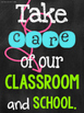 Twelve Chalkboard (With Pops of Color) Posters for Classroom Rules