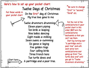 Twelve Days of Christmas (A Song and Pocket Chart Activity)