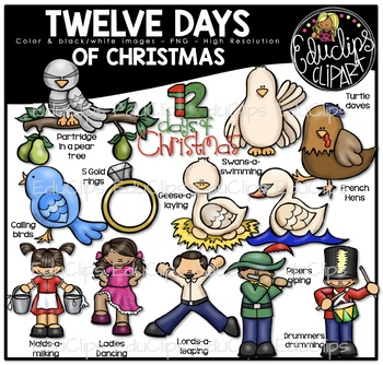 Twelve Days of Christmas Clip Art Bundle {Educlips Clipart}