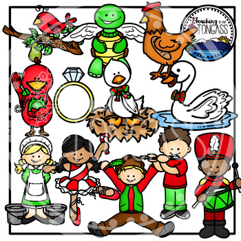 12 Days Of Christmas Clipart Worksheets Teaching Resources