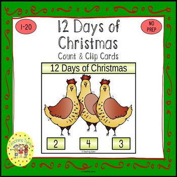 Twelve Days of Christmas Count and Clip Holiday Task Cards
