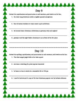 12 Days of Christmas Grammar/language arts - Grades 4-5