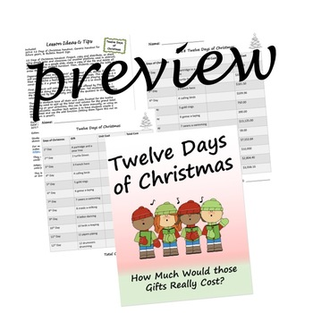Twelve Days of Christmas: How much Would it Really Cost? STEM/ Division Practice