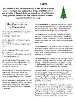 Twelve Days of Christmas Math Activity